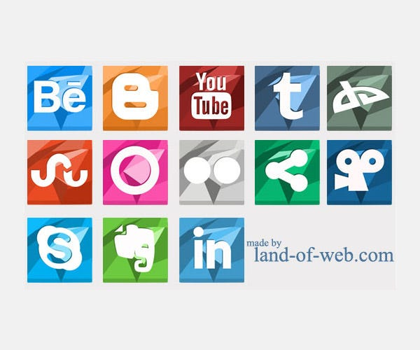 freebie vibrant polygonal social media icons vol