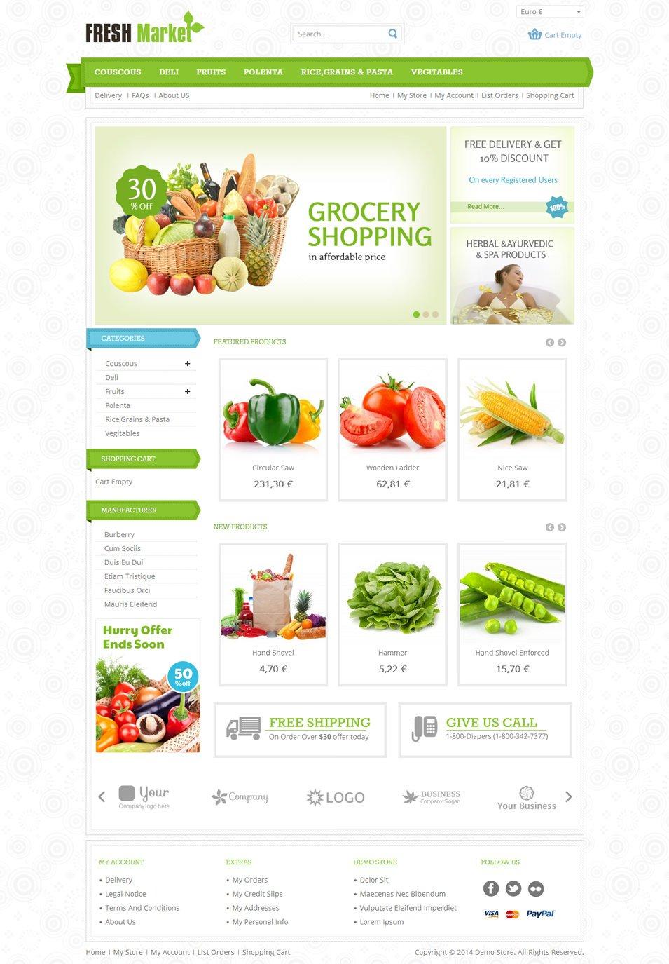 Fresh Market - Responsive VirtueMart Template