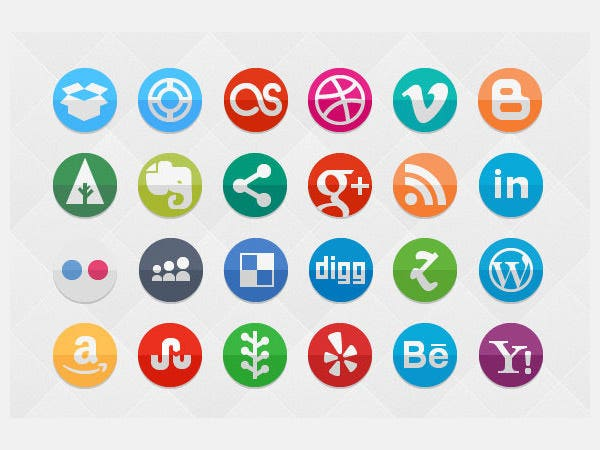 funky social set 80 icons