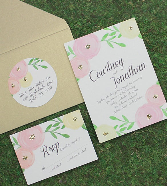 garden bouquet wedding invitation