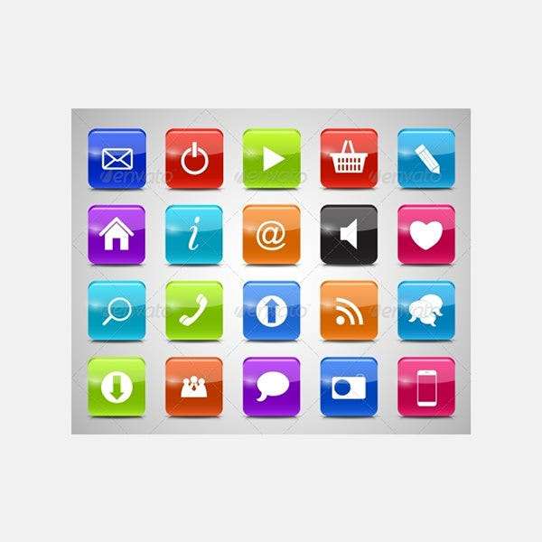 Glass Button Icon Set