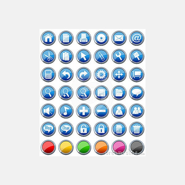 glossy buttons icons set 1