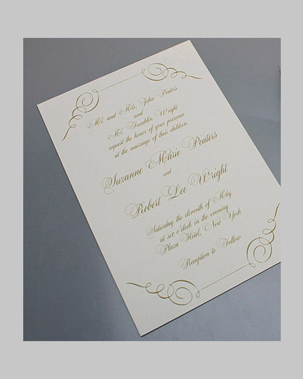 Gold Scroll Wedding Invitation