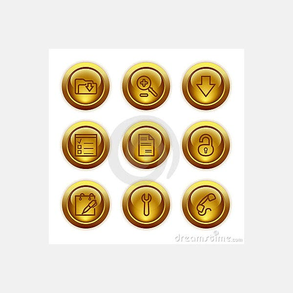 Gold button web icons, set 8