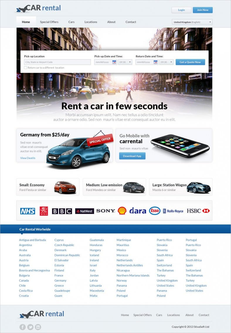 Great Rent a Car Website Template