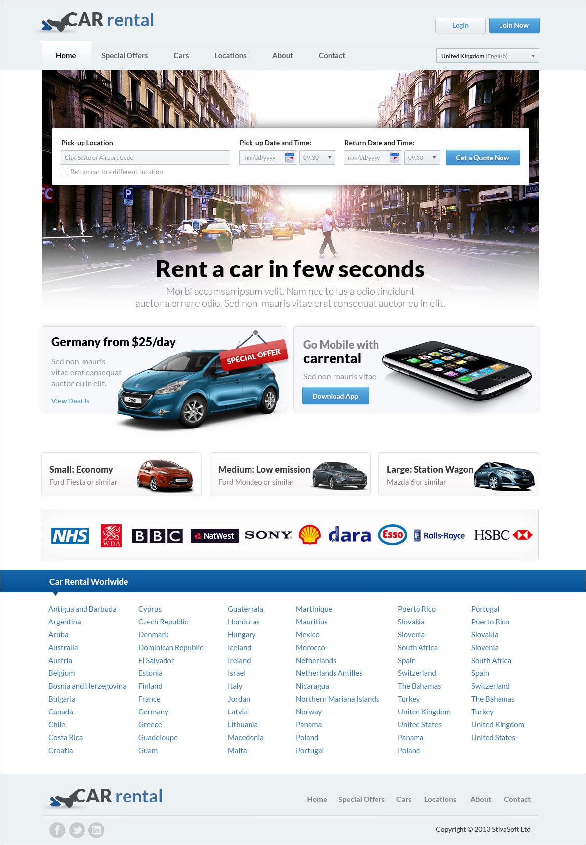 great rent a car website template
