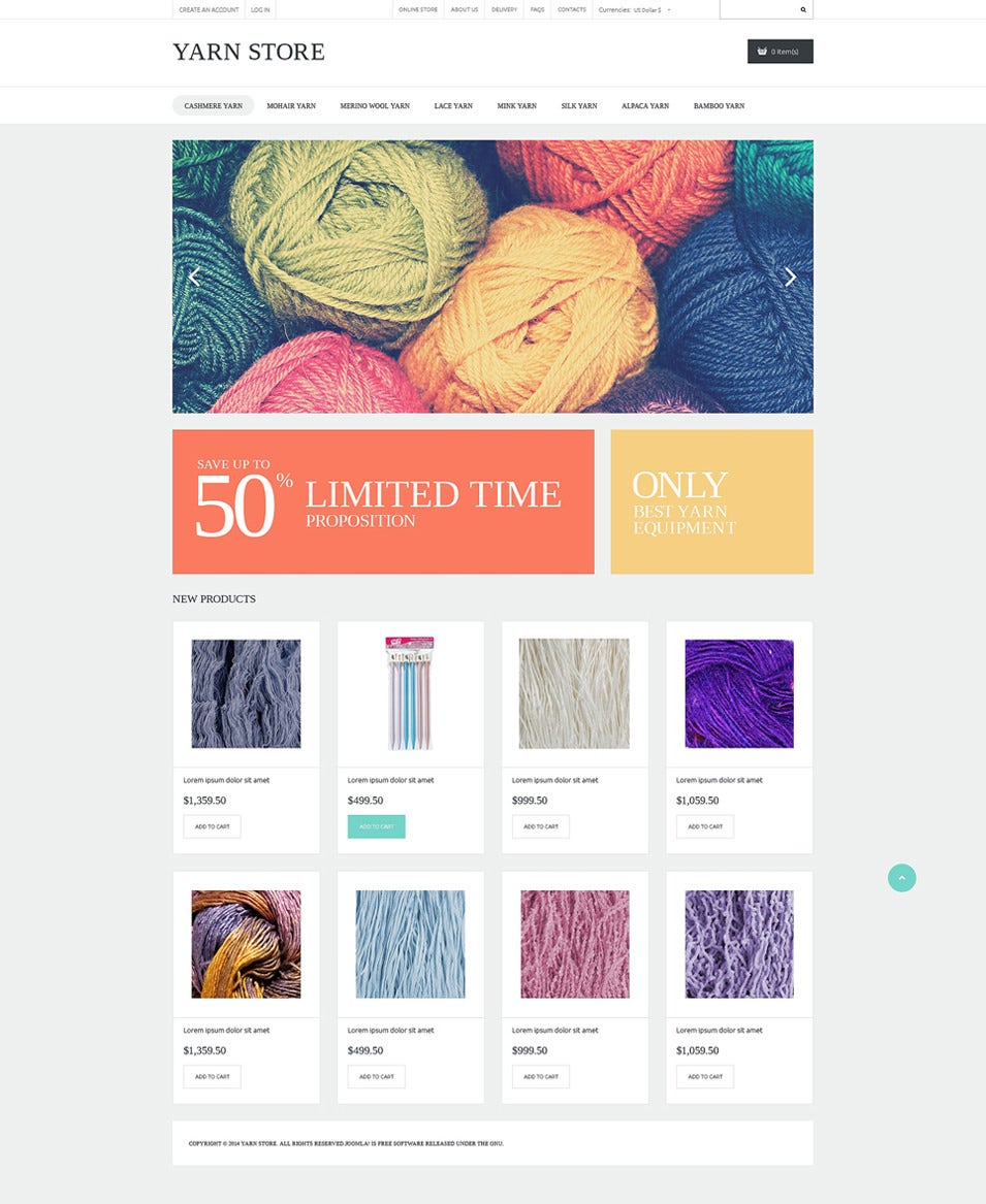 Handiwork Yarn VirtueMart Template