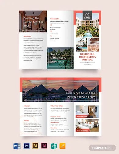 hotel advertising tri fold brochure template