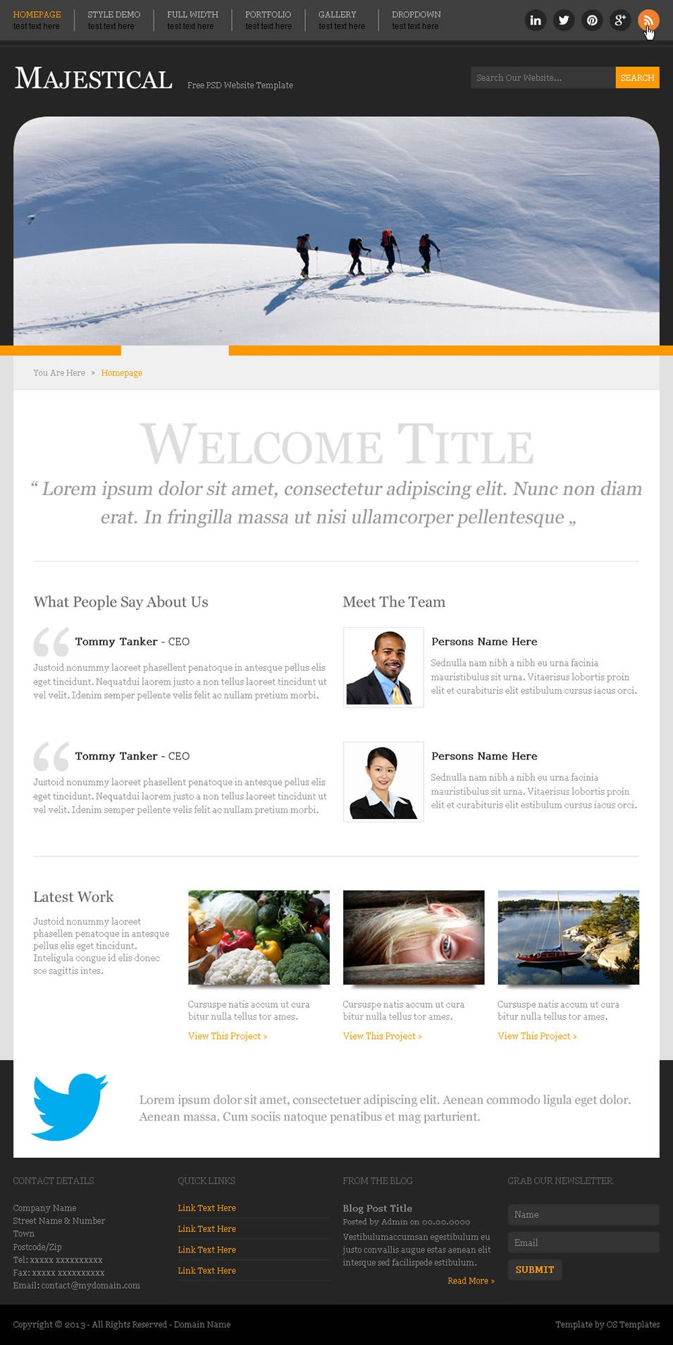 majestical free psd website template
