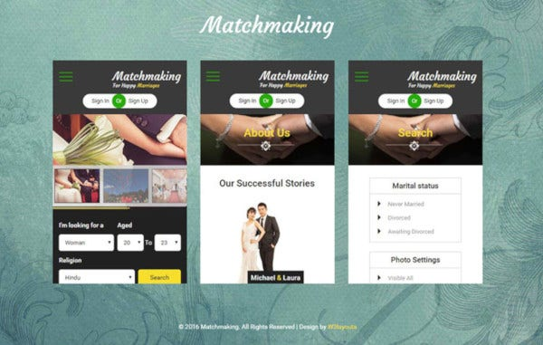 matchmaking mobile app bootstrap web template