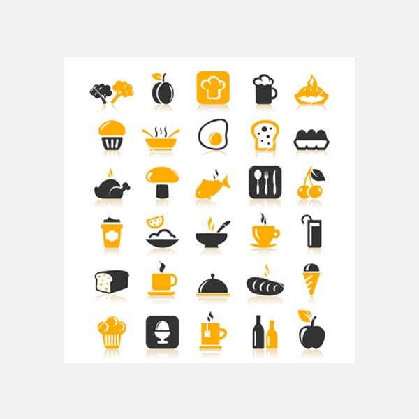 Meal food icons vector