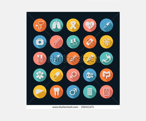 Medical Icons , Long shadow , eps10 vector format