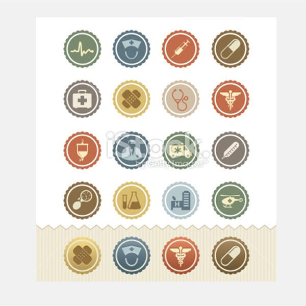 Medical and Health Icons : Vintage Badge Series - Illustration