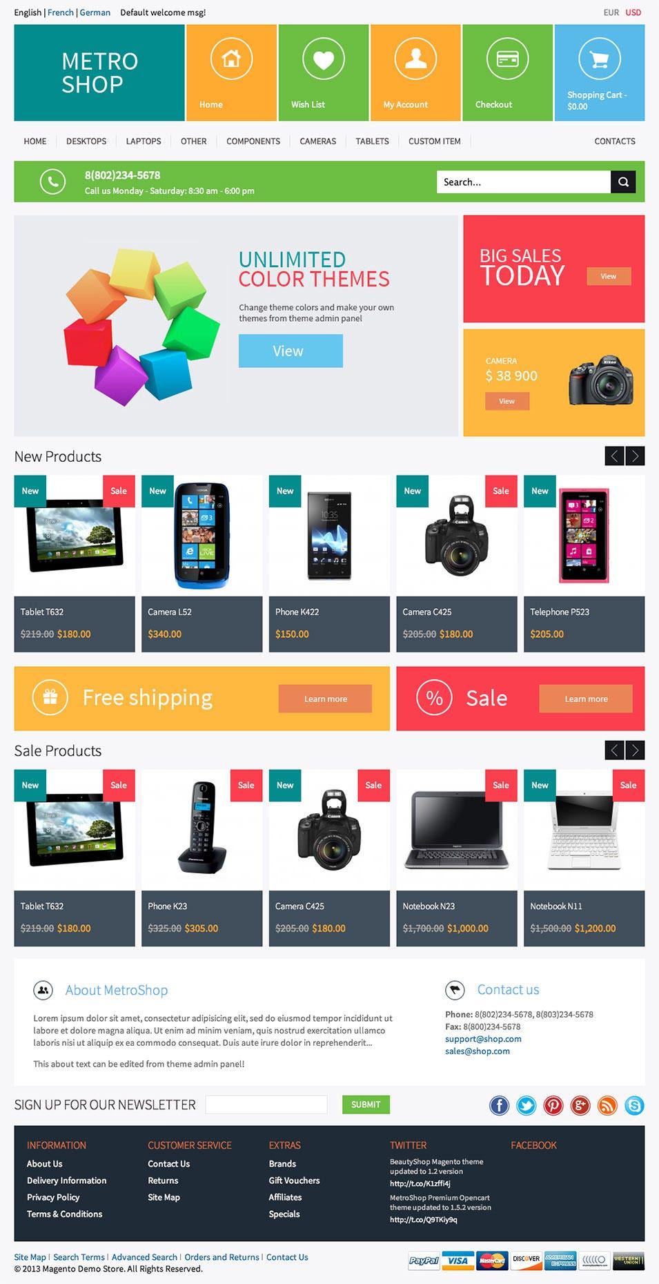 Magento website templates free download gameunion for Magento homepage template