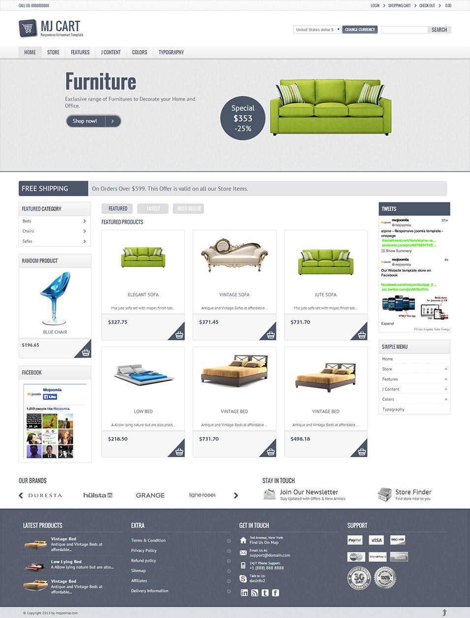 Mini responsive e-commerce joomla template.
