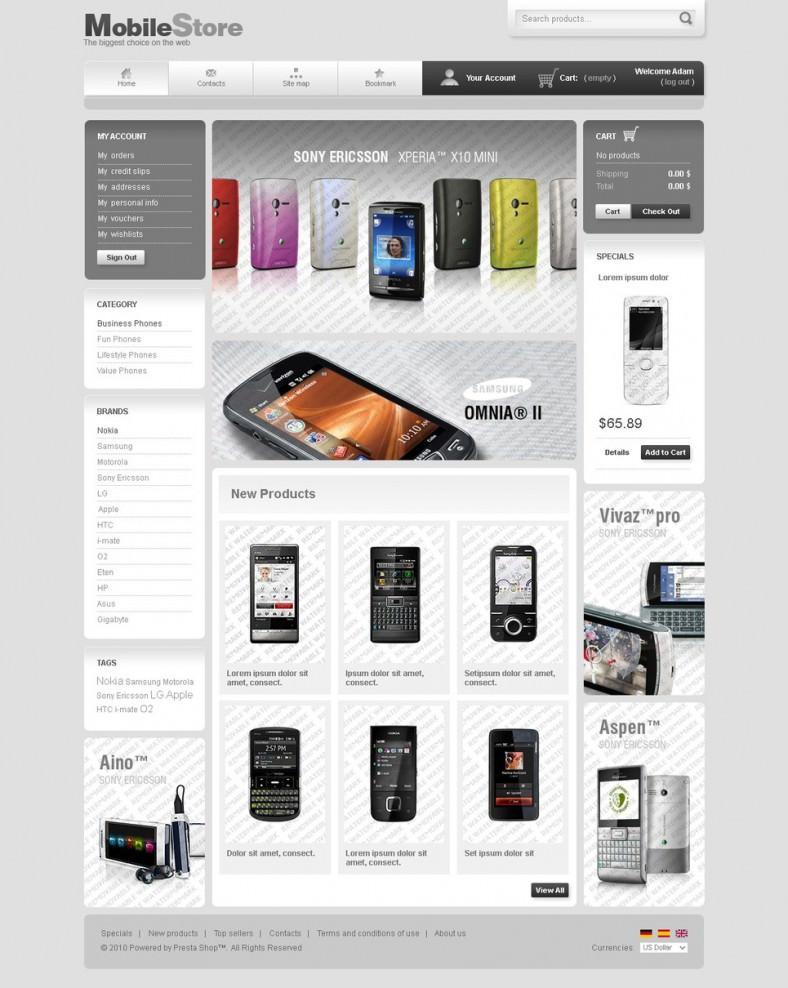 MobileStore Prestashop Free Template