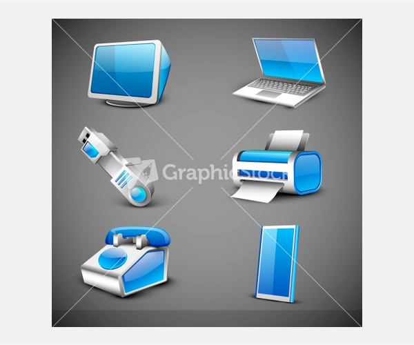 Modern Office Electronic Icons Set