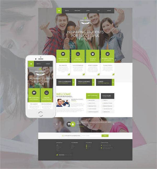new-high-school-education-website-template