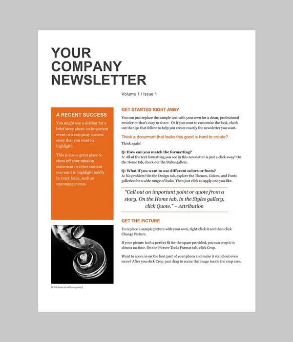 professional newsletter templates for word
