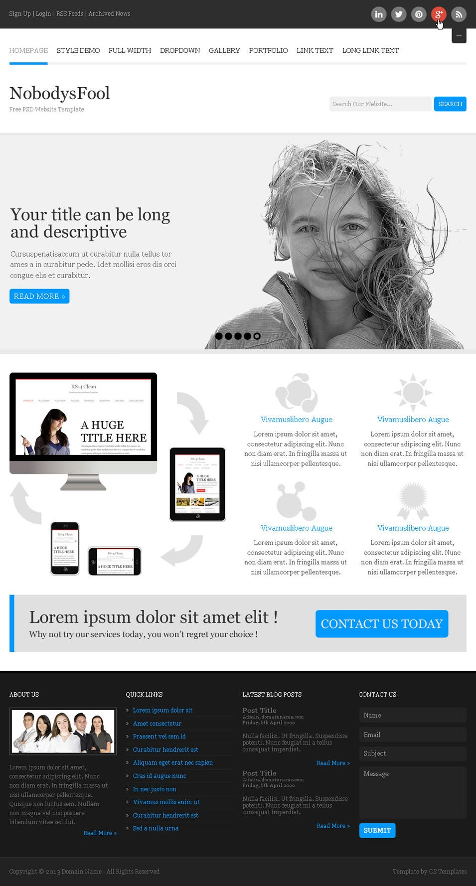 nobodysfool free psd website template