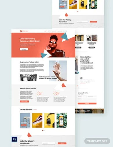 online store psd landing page template
