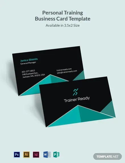 personal training business card template