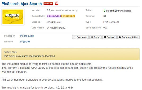 pixsearch ajax search