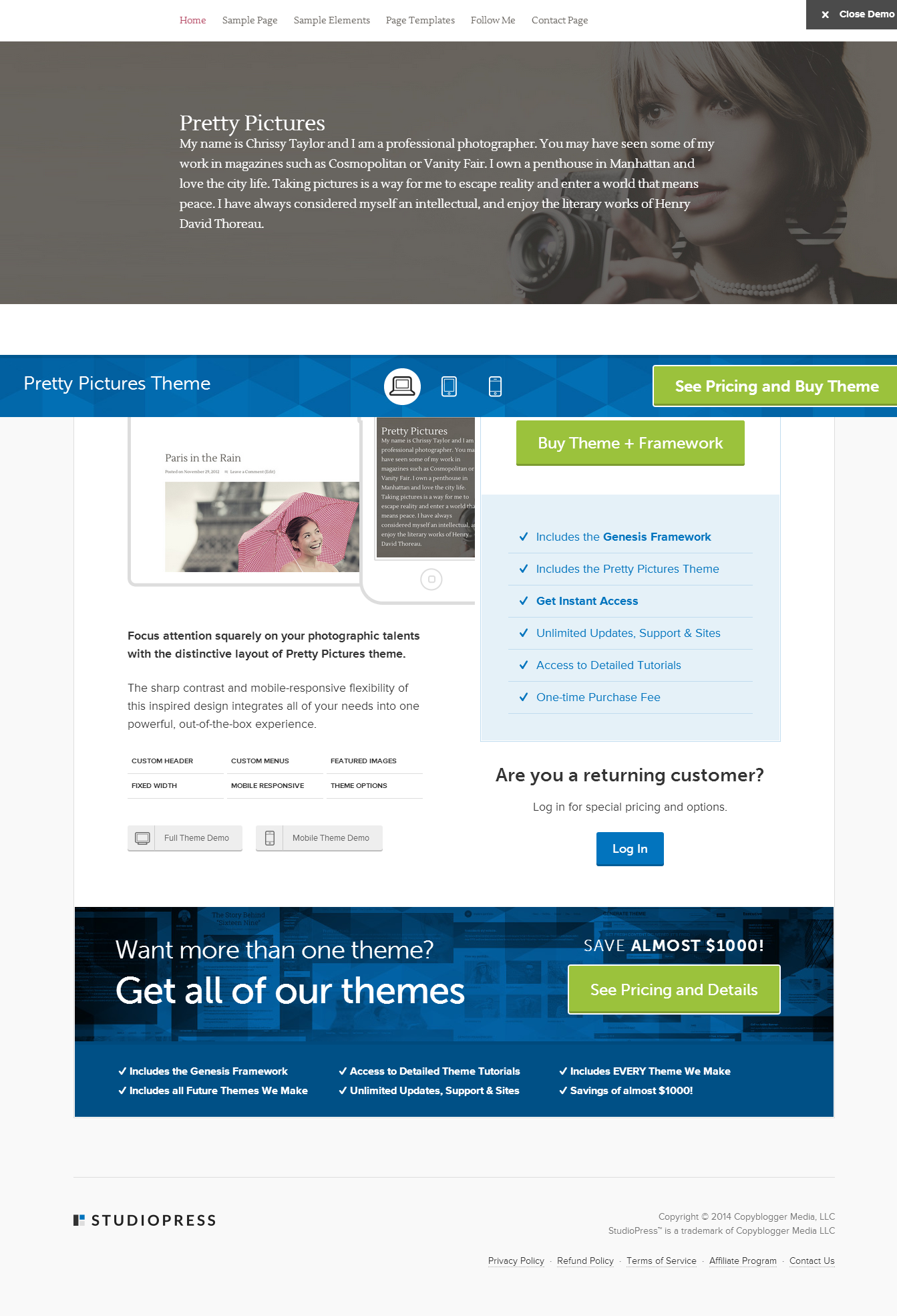 pretty pictures theme by studiopress