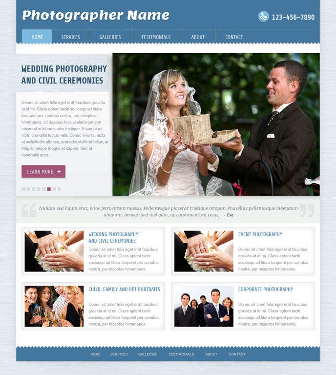 Professional Photographer Website Template