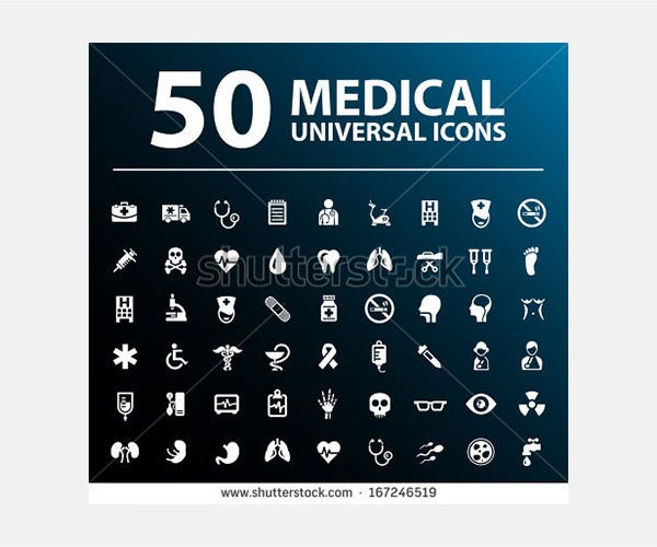 Set of 50 Medical Icons.
