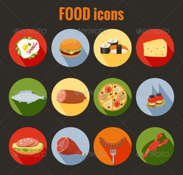 Set of Food Icons on Colorful Round Buttons