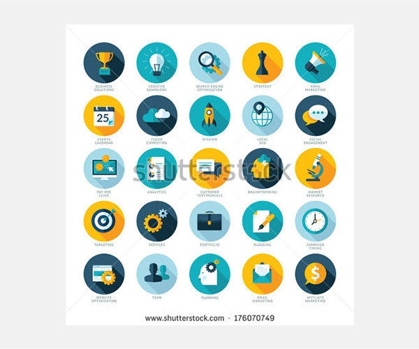 Set of flat design icons for Business, SEO and Social media