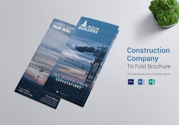 simple construction company tri fold brochure