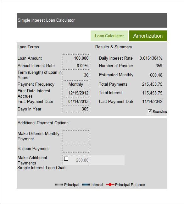 simple interest calculator financial calculators