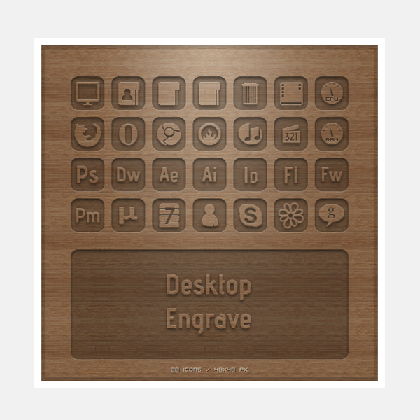 Social Engrave Icons set