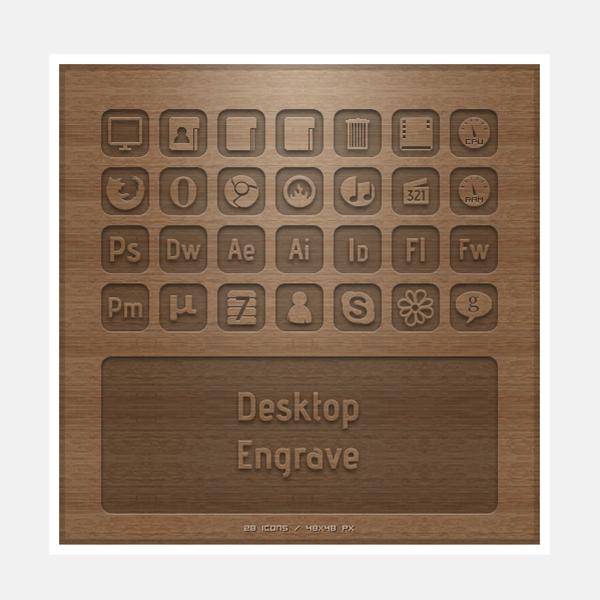 social engrave icons set