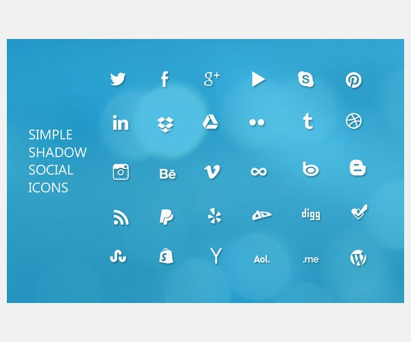 social icons shadow