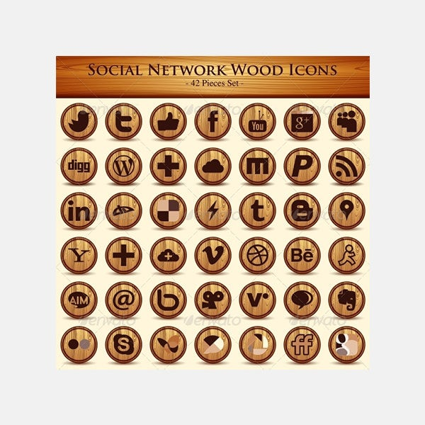 Social Network Icons. Wood Texture Buttons