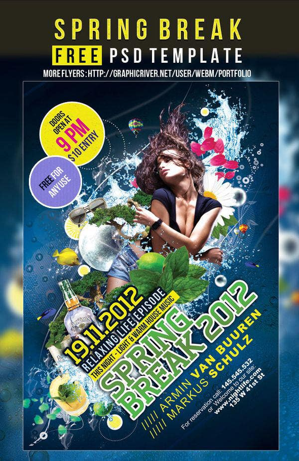 spring break free party flyer poster psd