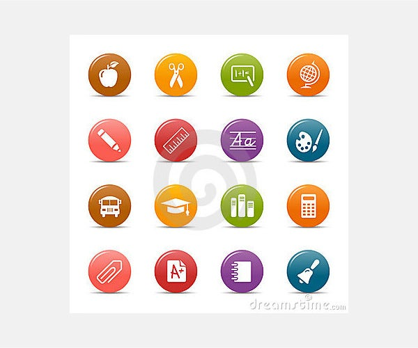 Stock Photo: Colored dots - School Icons