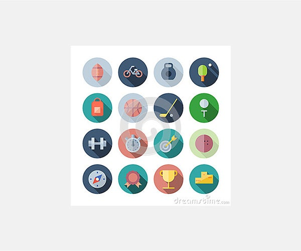 Stock Vector: Flat Design Icons For Sport and Fitness