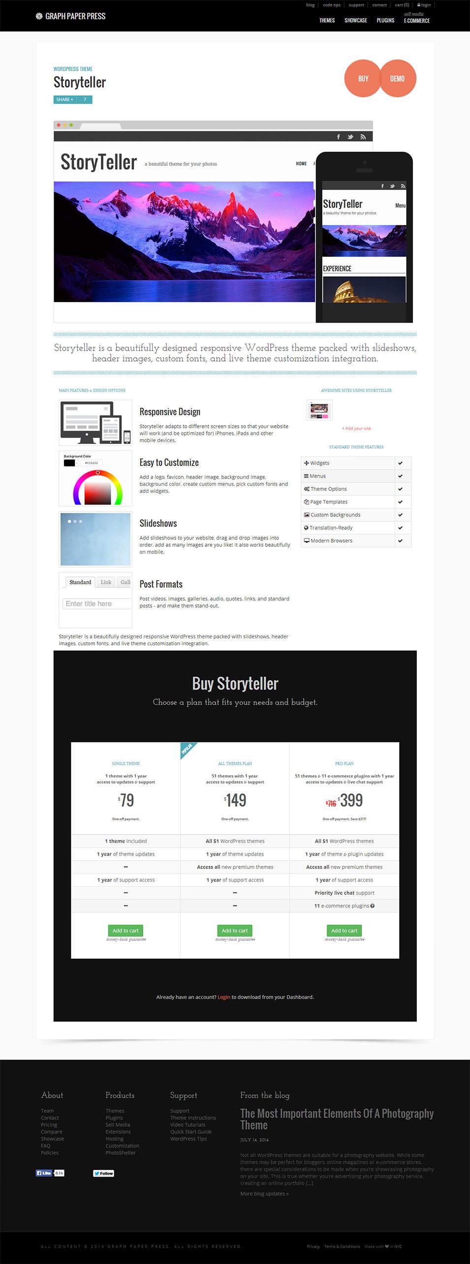 storyteller wordpress theme graph paper press