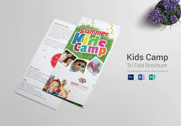 summer kids camp tri folding brochure