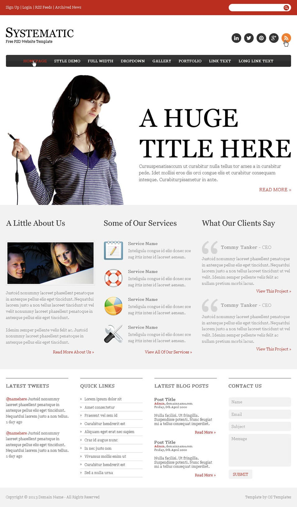 systematic free psd website template