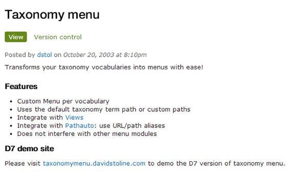 taxonomy menu