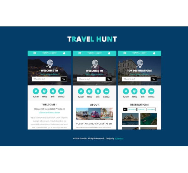 travel hunt mobile app flat bootstrap responsive web template