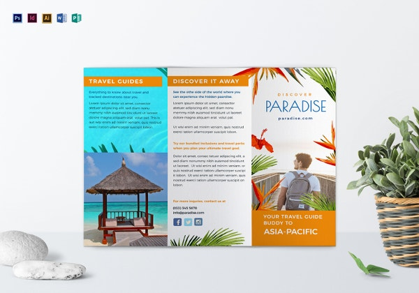 Travel Tri Fold Brochure Template  Free Printable Tri Fold Brochure Templates