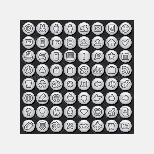 Vector Icon Set of Black and White Buttons