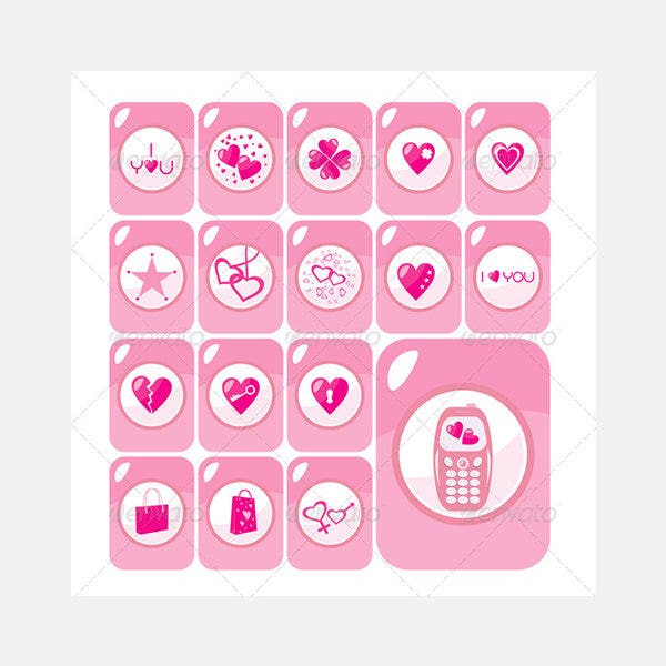Vector Valentine Love Icons Buttons