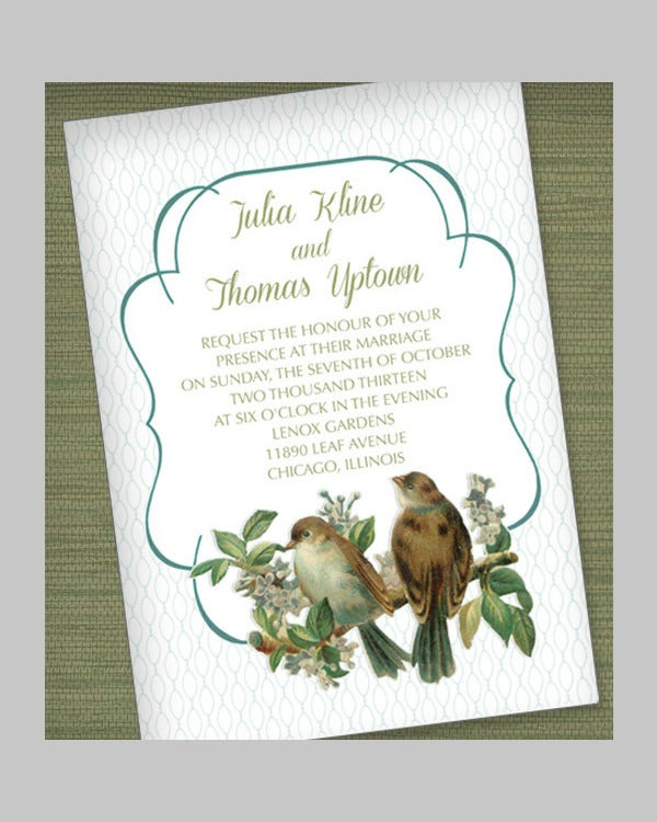 Vintage Birds Wedding Invitation in Mint Green